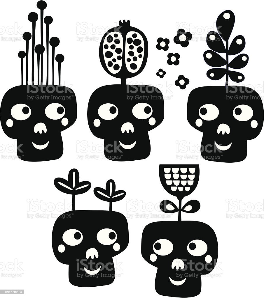 Funny skulls with flowers. royalty-free stock vector art