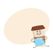 Funny sleepy paper coffee cup character with a pillow