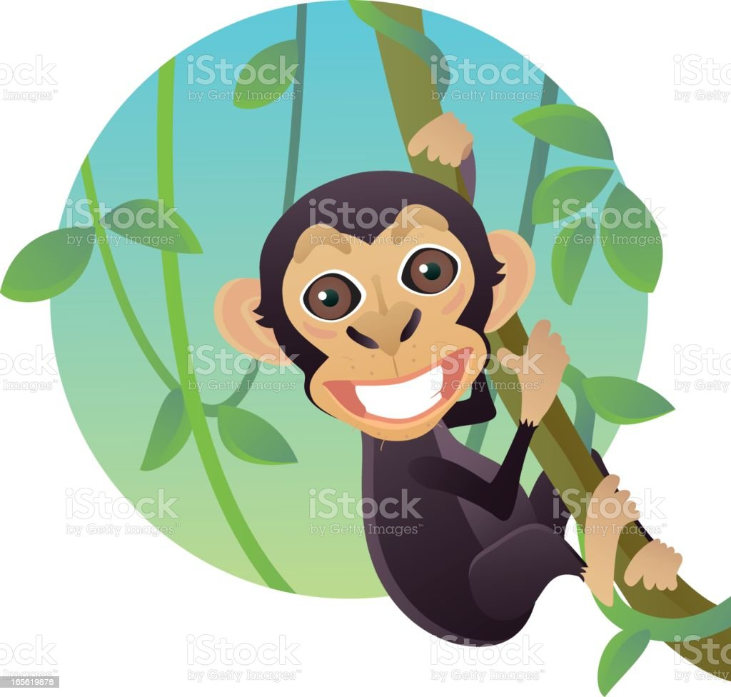 Funny Smiling Baby Chimpanzee Monkey Hanging on Liana Tree royalty-free stock vector art