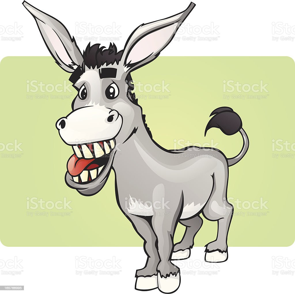 Funny Smiling Donkey vector art illustration