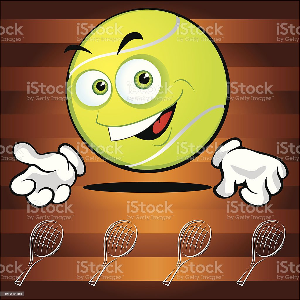 Funny smiling tennis ball royalty-free stock vector art