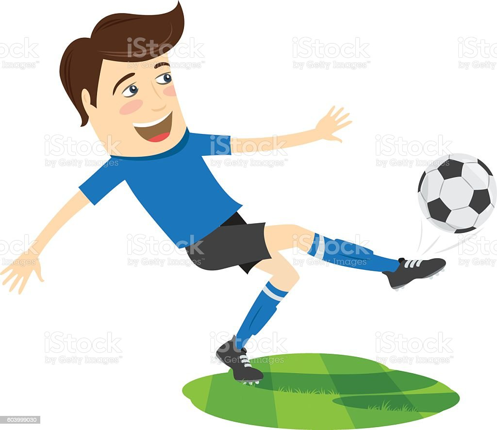 Funny soccer football player wearing blue t-shirt running kicking vector art illustration