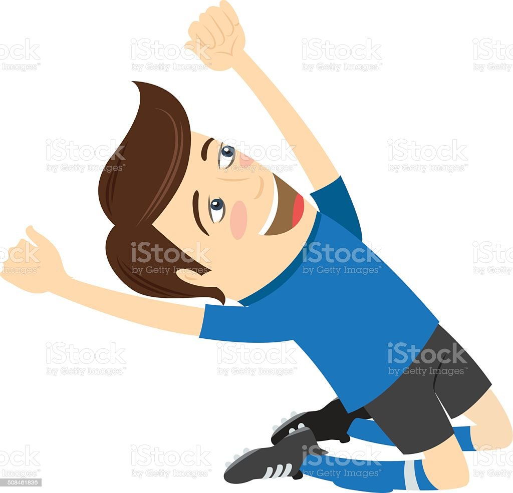 Funny soccer football player wearing blue t-shirt vector art illustration