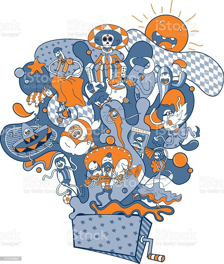 Funny Spanish-speaking People vector art illustration