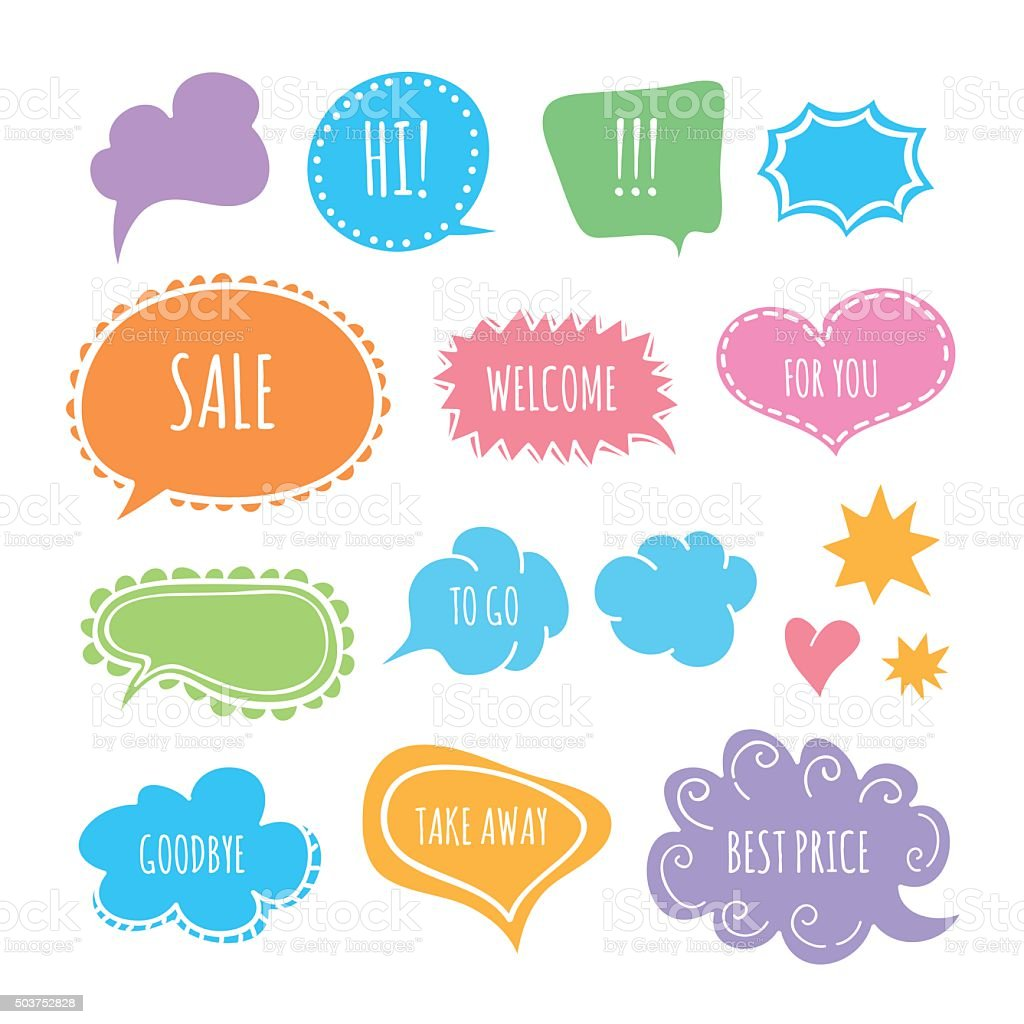 Funny speech and thought bubbles in vector vector art illustration