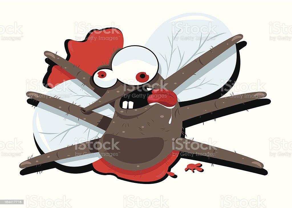 Funny Splatted Mosquito vector art illustration