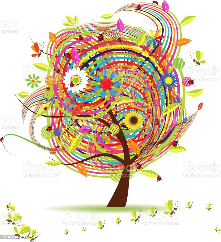 Funny spring tree royalty-free stock vector art