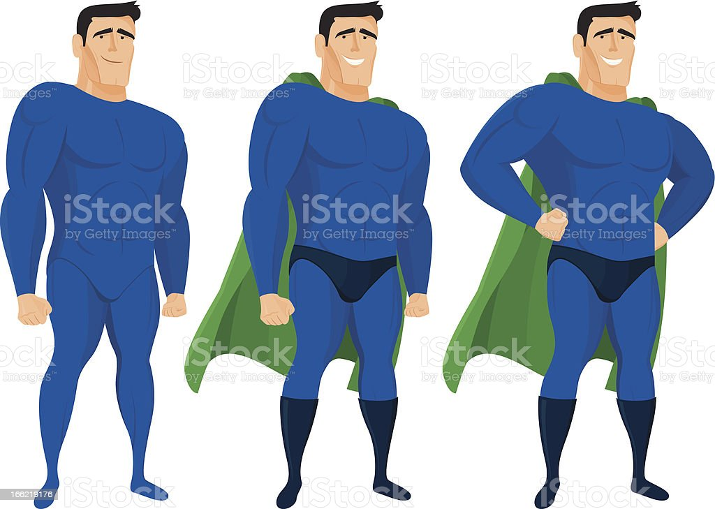 Funny superhero mascot in different poses royalty-free stock vector art