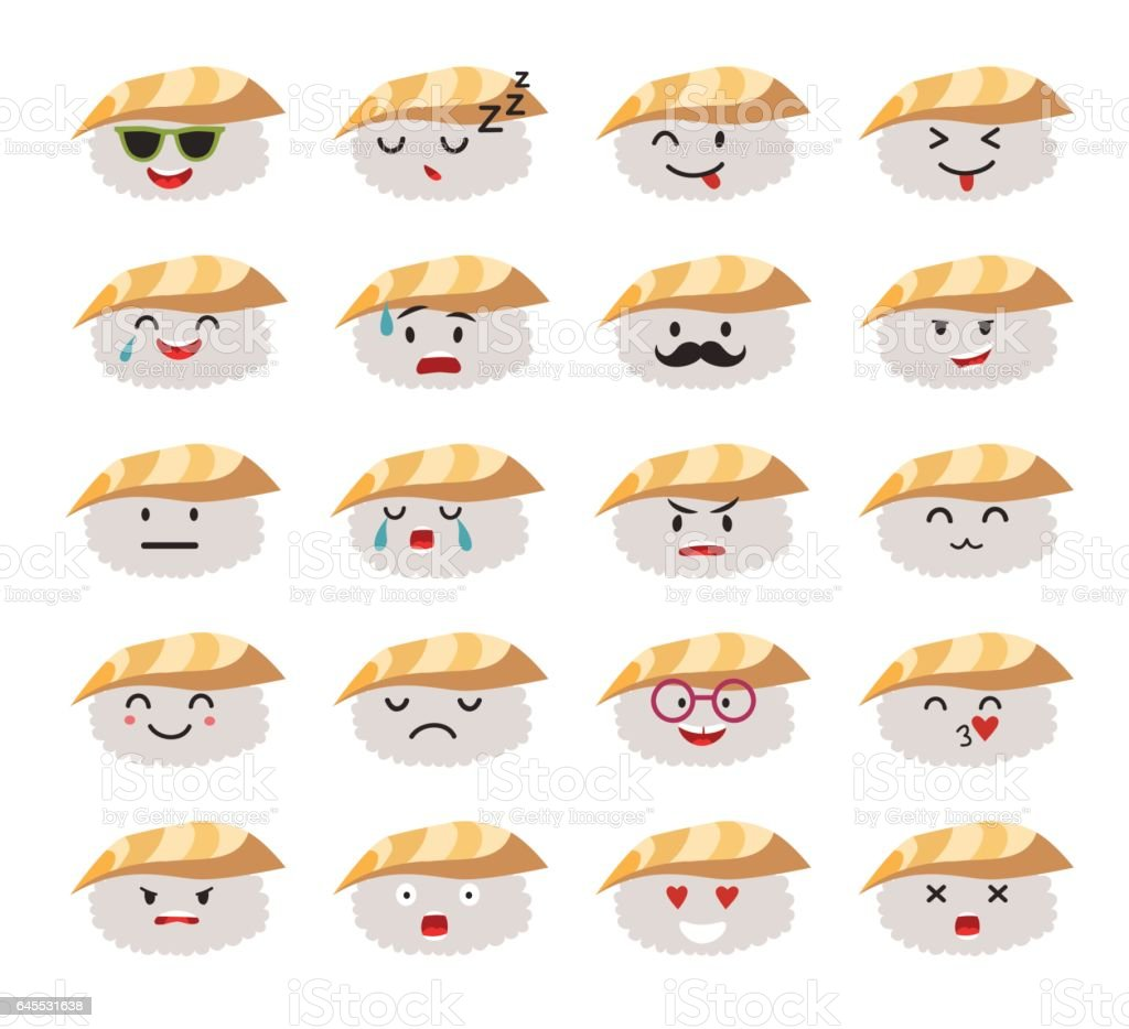 Funny sushi characters vector set vector art illustration