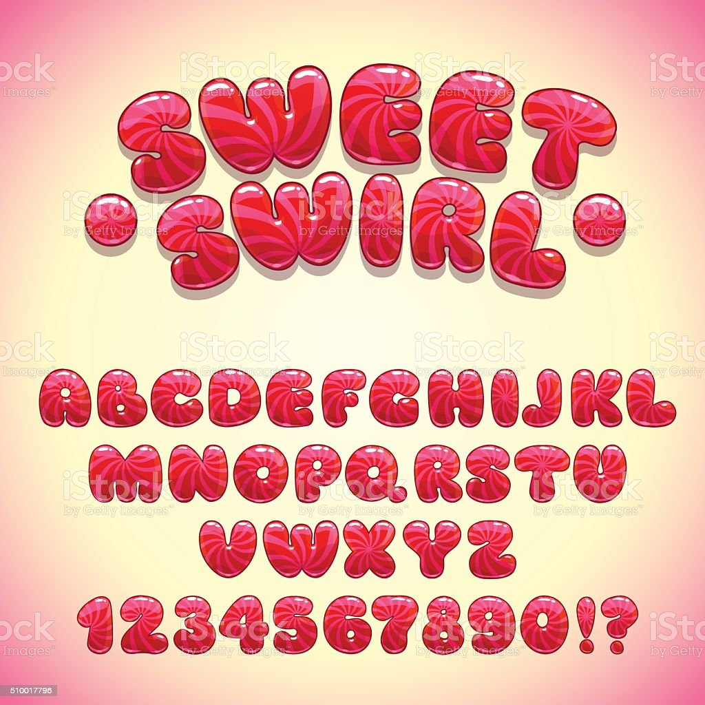Funny sweet font vector art illustration