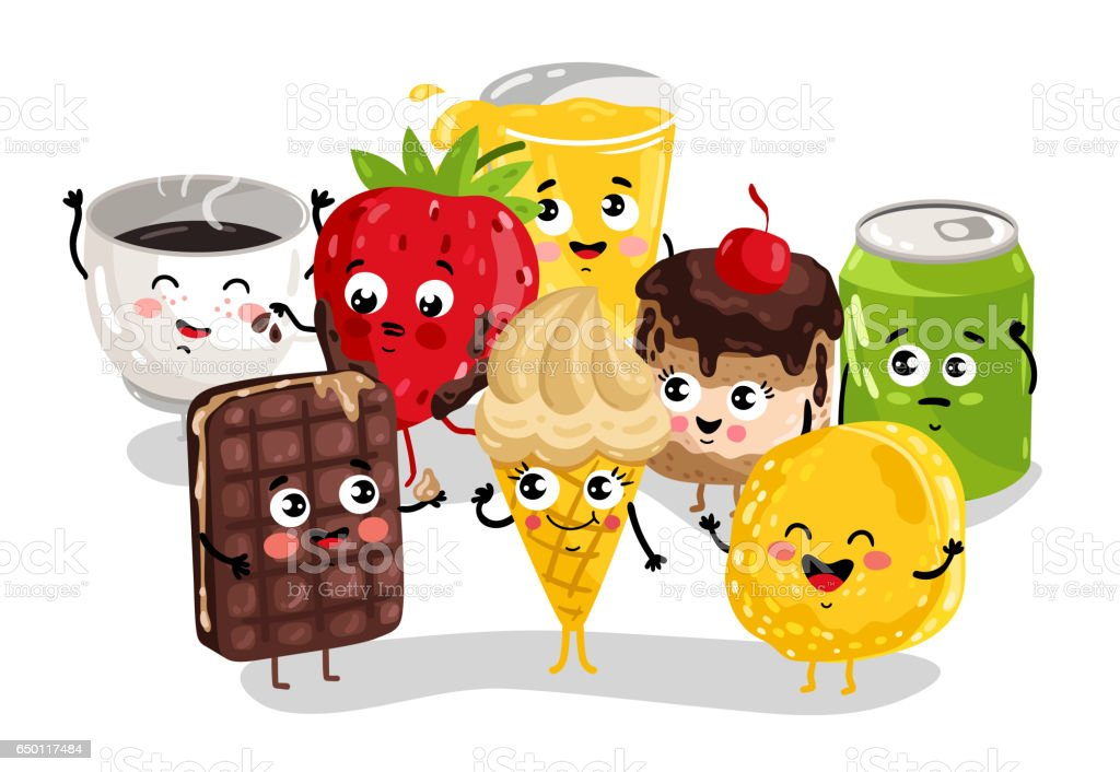 Cute sweet food and drink cartoon character set isolated on white...
