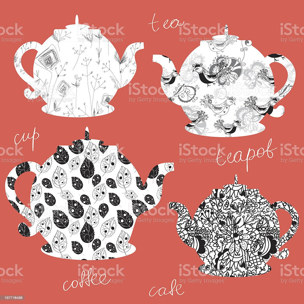Funny teapots with patterns design royalty-free stock vector art