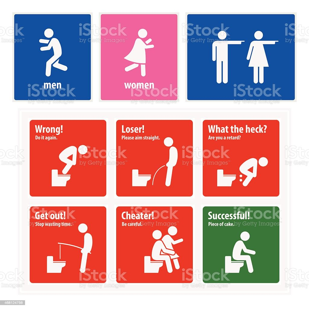 Funny Toilet Signs Creative Signboards vector art illustration