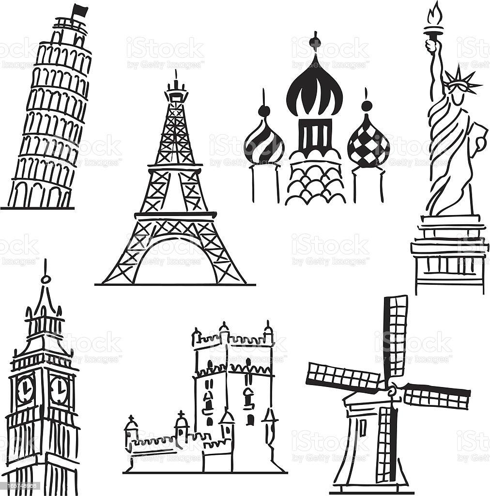 Funny Travel icons vector art illustration