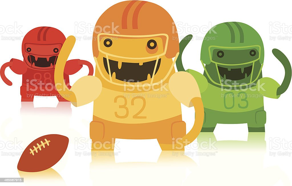 Funny Trio of American Football Players royalty-free stock vector art