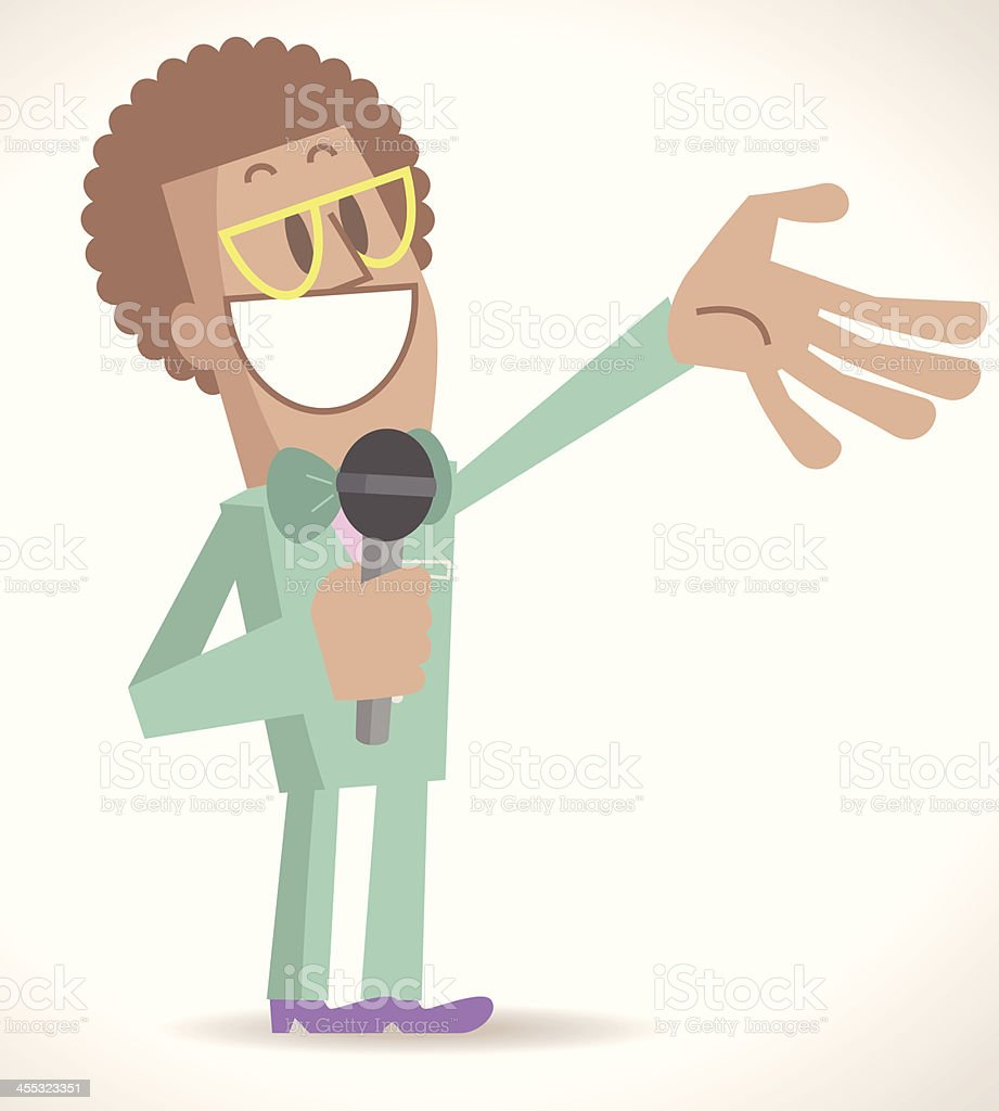 Funny TV Host Talking Into Microphone vector art illustration