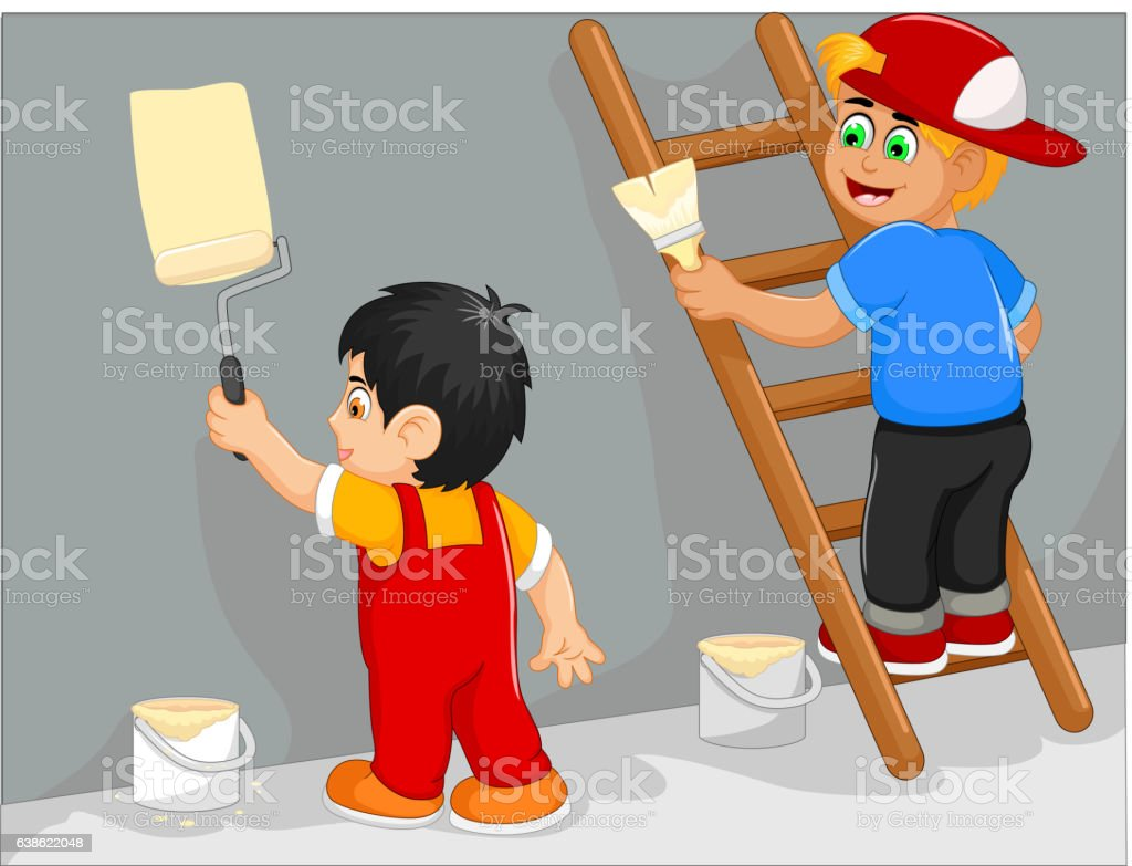funny two little boy cartoon painting the wall vector art illustration