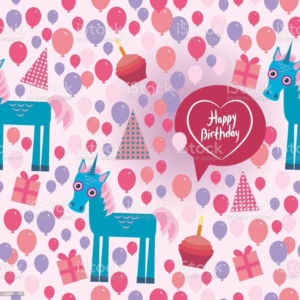 Funny unicorn Happy birthday seamless pattern. flat style set. vector vector art illustration