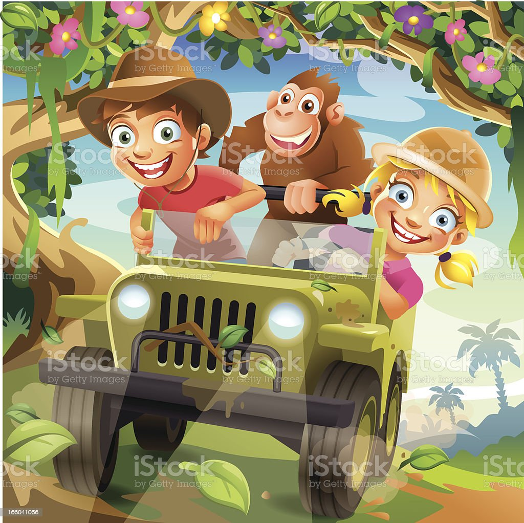 Funny Vector Cartoon Children driving in Off-Road Car through Jungle vector art illustration