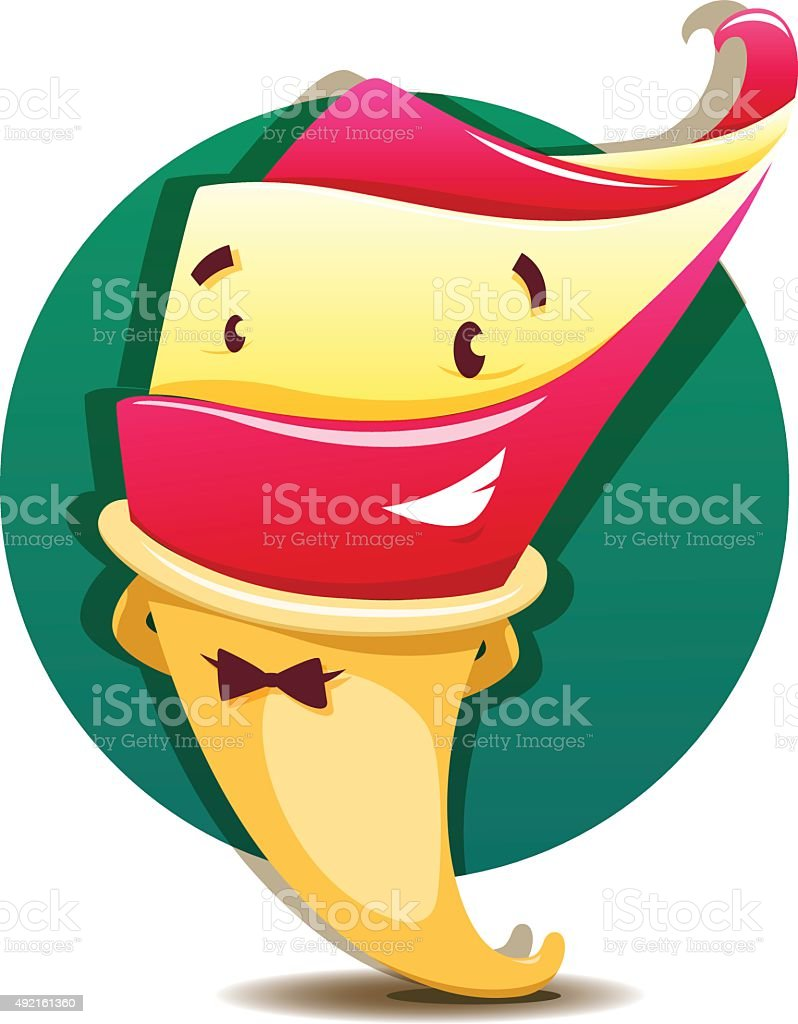 Funny vector cartoon ice cream vector art illustration