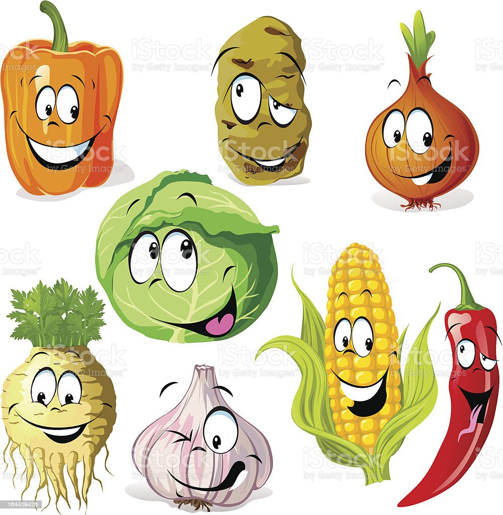 funny vegetable and spice cartoon royalty-free stock vector art