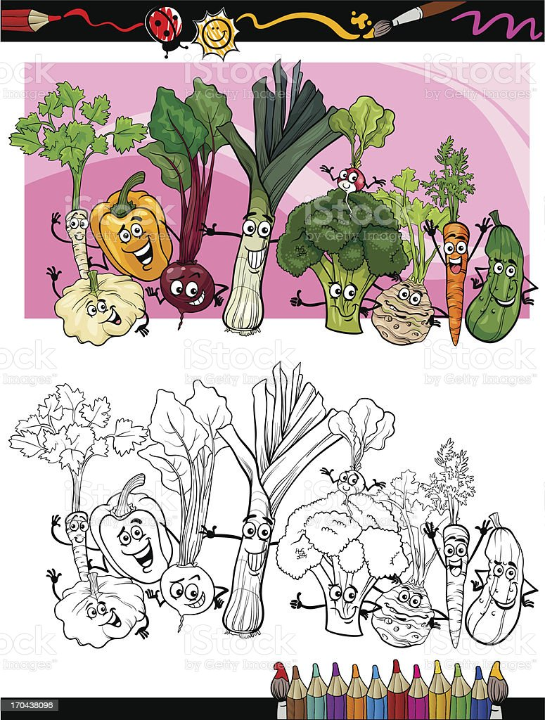 funny vegetables cartoon for coloring book royalty-free stock vector art