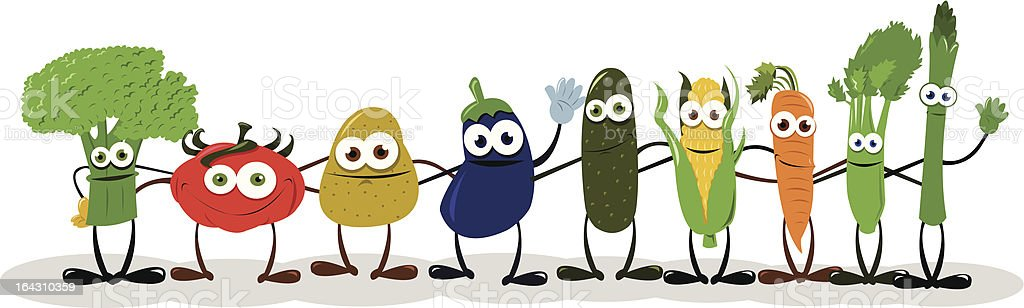 Funny Vegetables Saying Hello vector art illustration