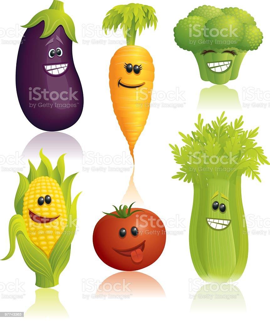 Funny Veggies vector art illustration