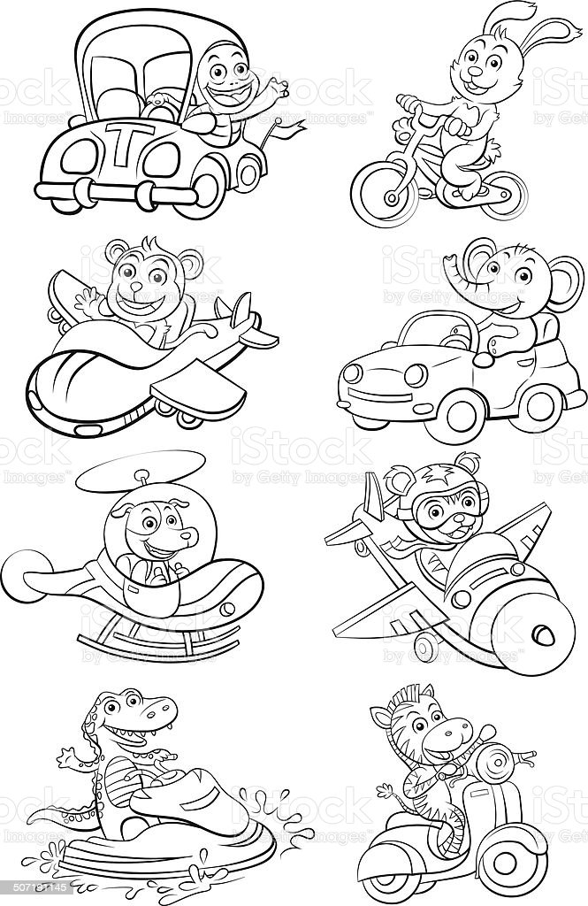 funny vehicle and animal set. vector art illustration