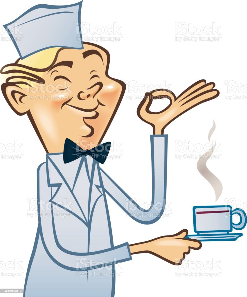 Funny vintage cartoon waiter with cup of coffee vector art illustration