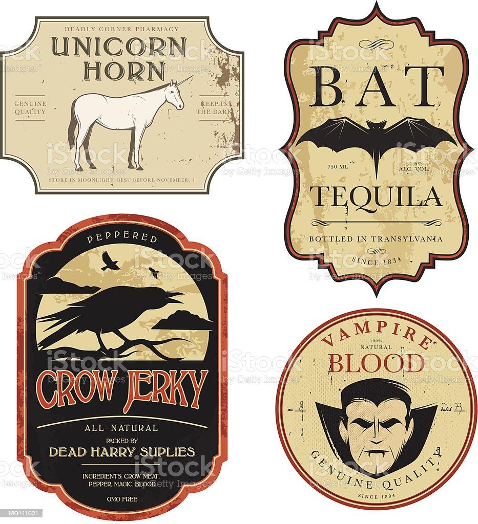 Funny vintage colored Halloween potion labels vector art illustration