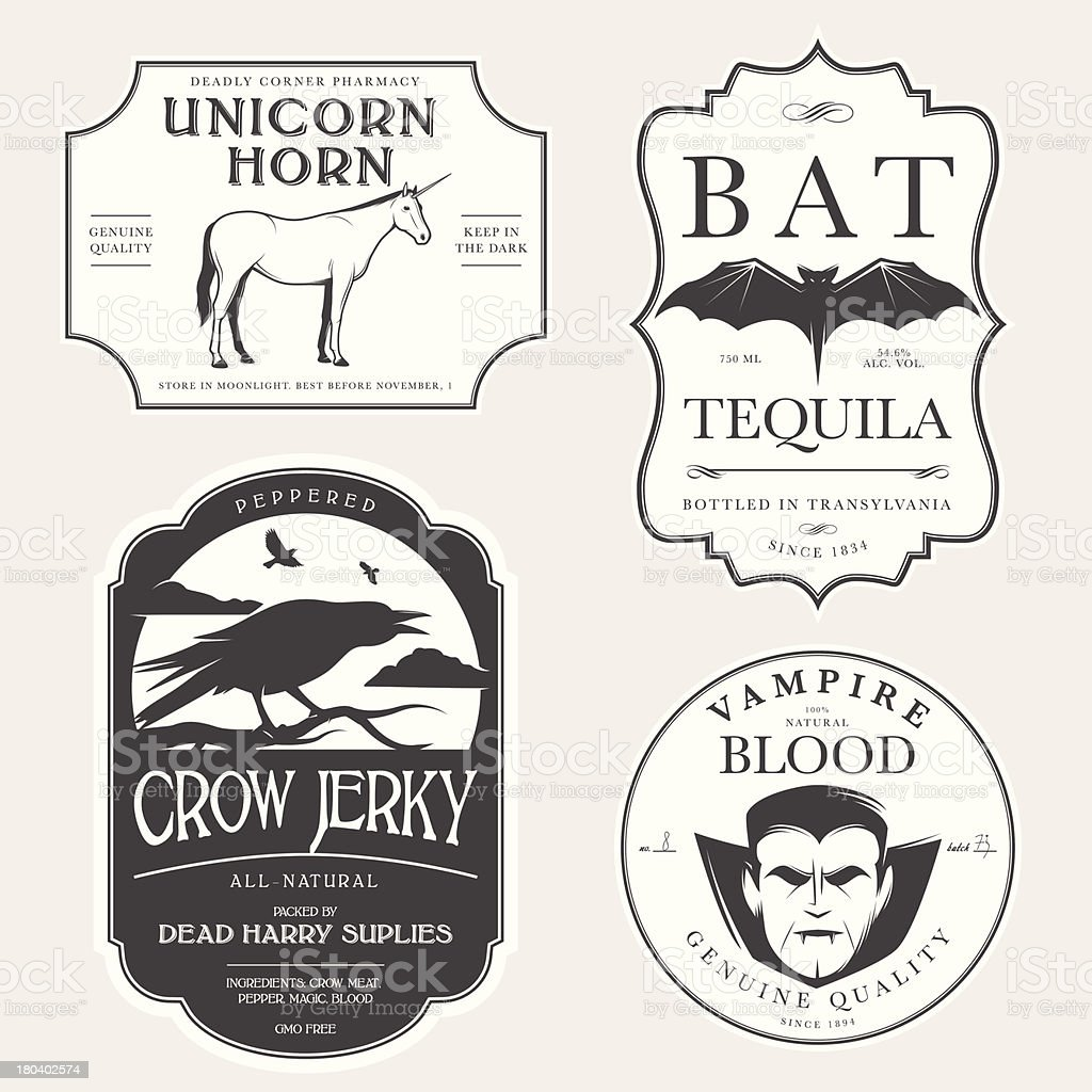 Funny vintage Halloween potion labels royalty-free stock vector art