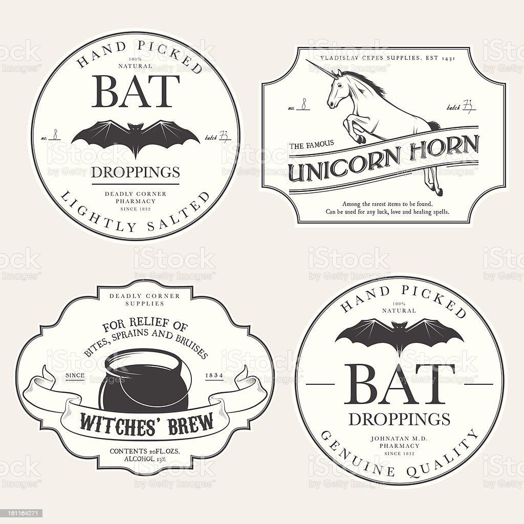 Funny vintage Halloween potion labels vector art illustration