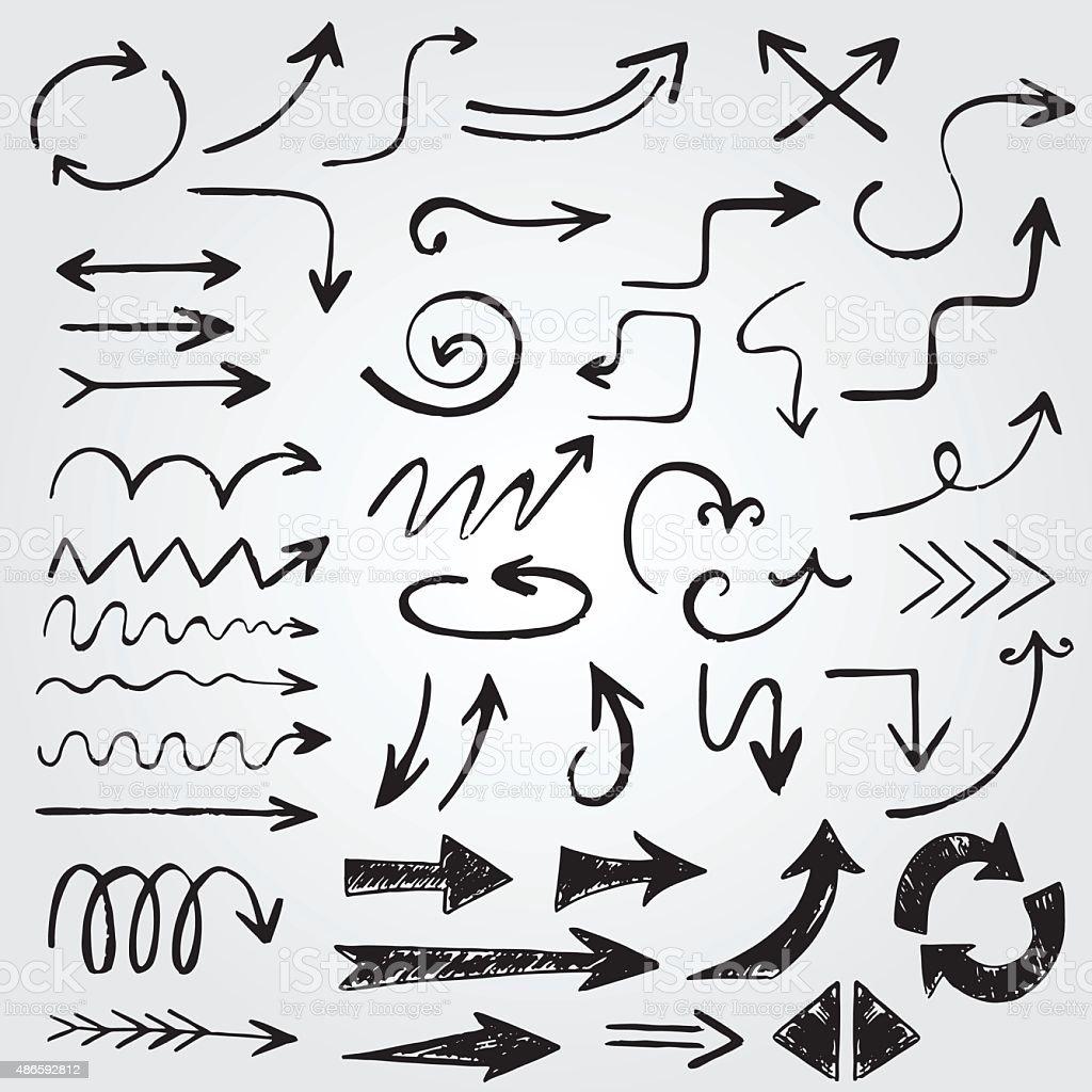 Funny vintage hand drawn arrows vector art illustration