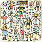 Funny Wacky Doodle Characters Set 20. Vintage Texture. Vector Illustration.