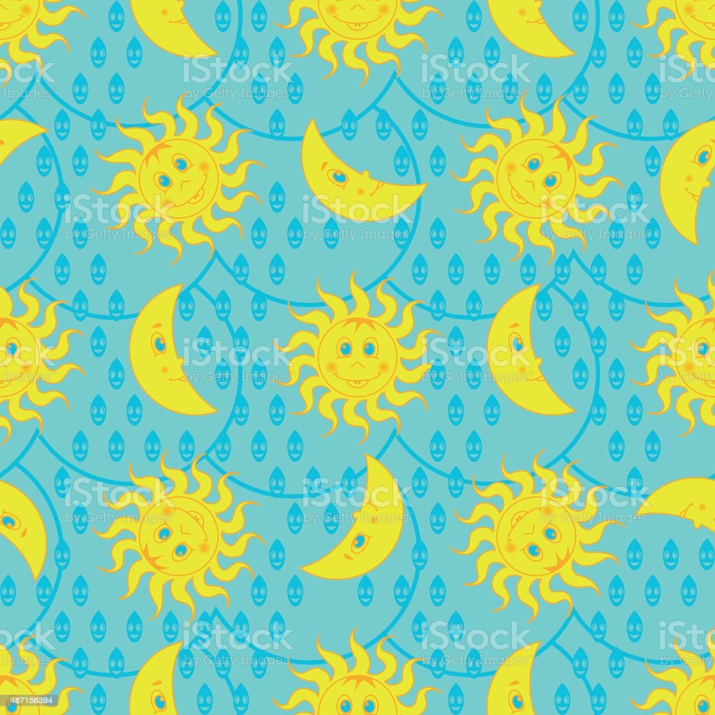Funny weather pattern with sun and moon vector art illustration