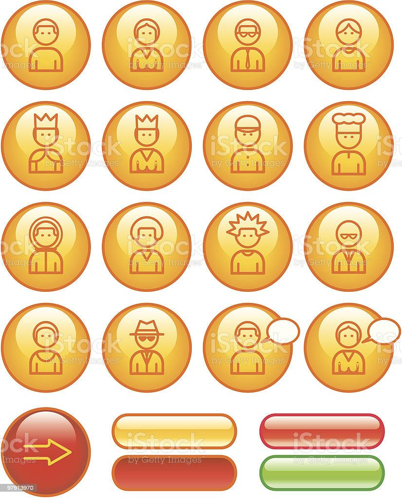 Funny Web Icons Set – People vector art illustration