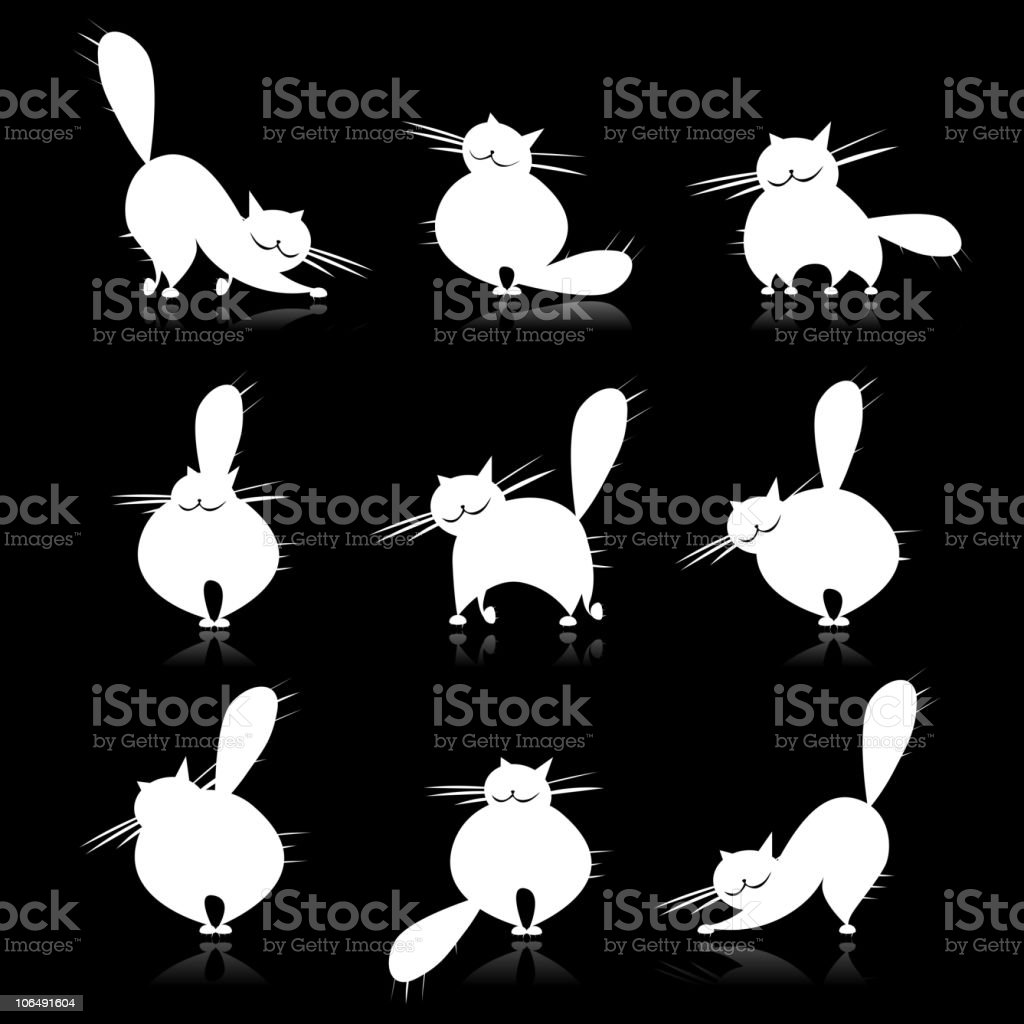 Funny white fat cats silhouettes for your design royalty-free stock vector art