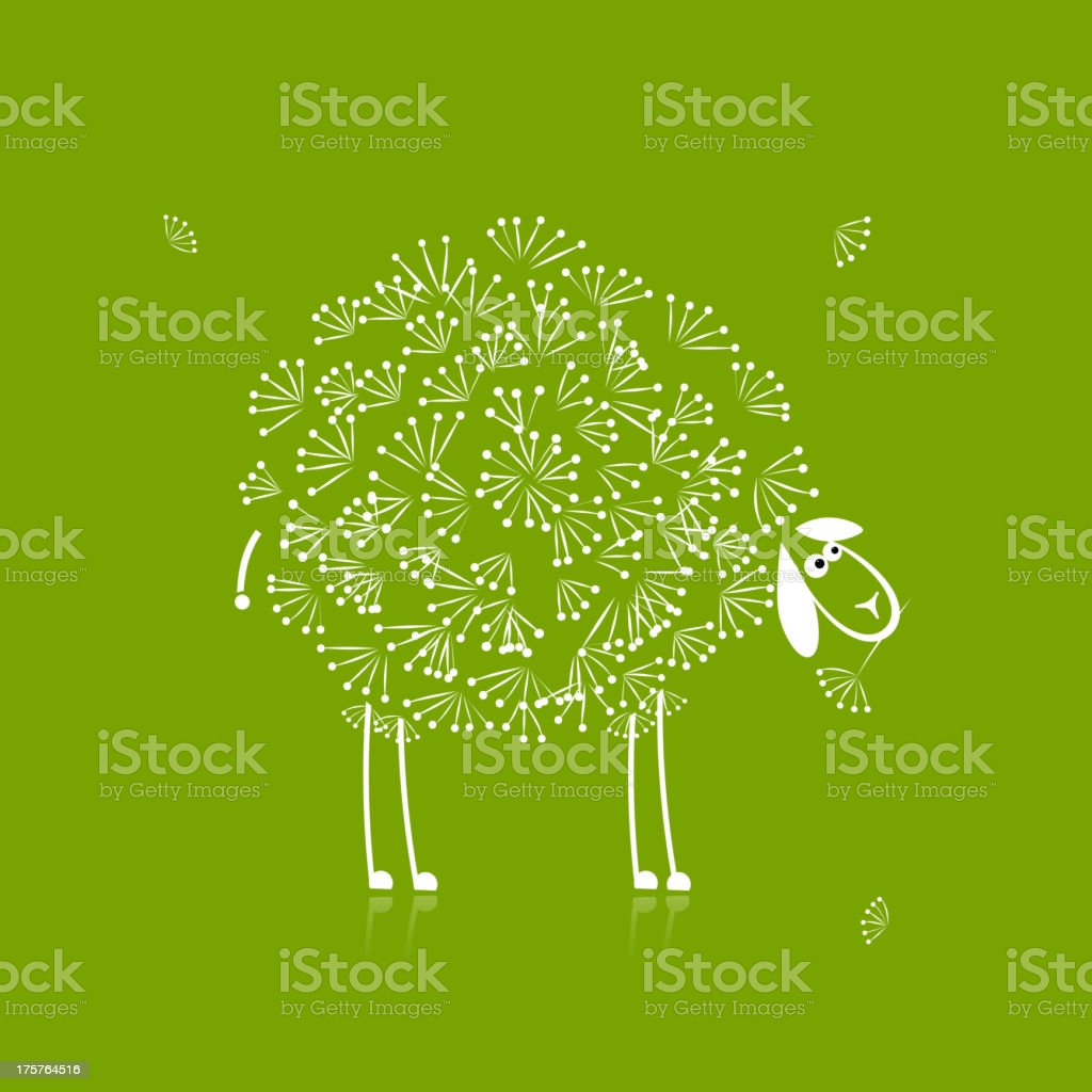 Funny white sheep, sketch for your design royalty-free stock vector art