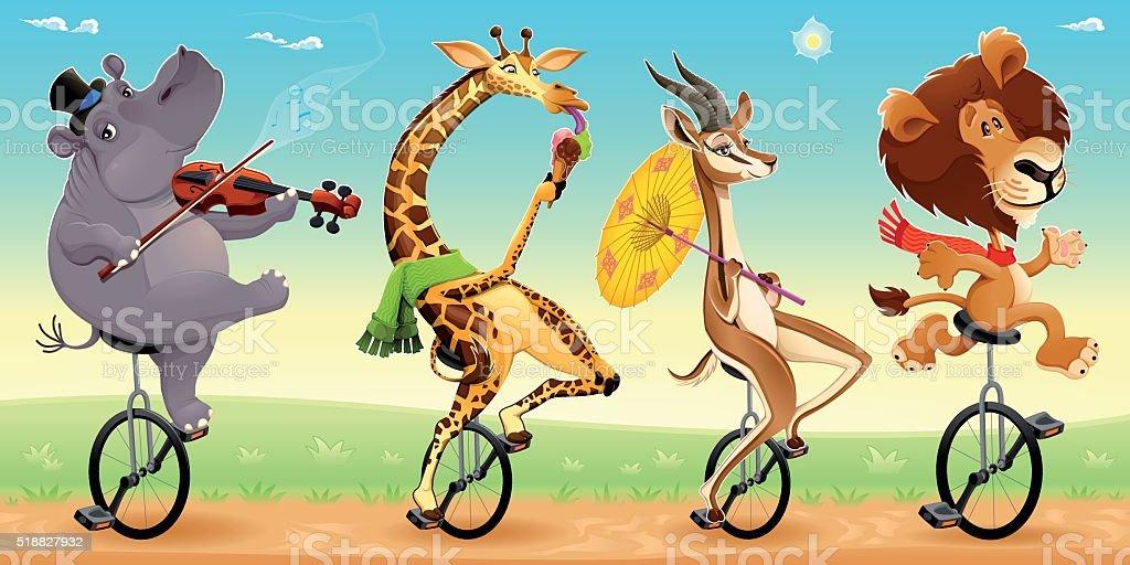 Funny wild animals on unicycles vector art illustration