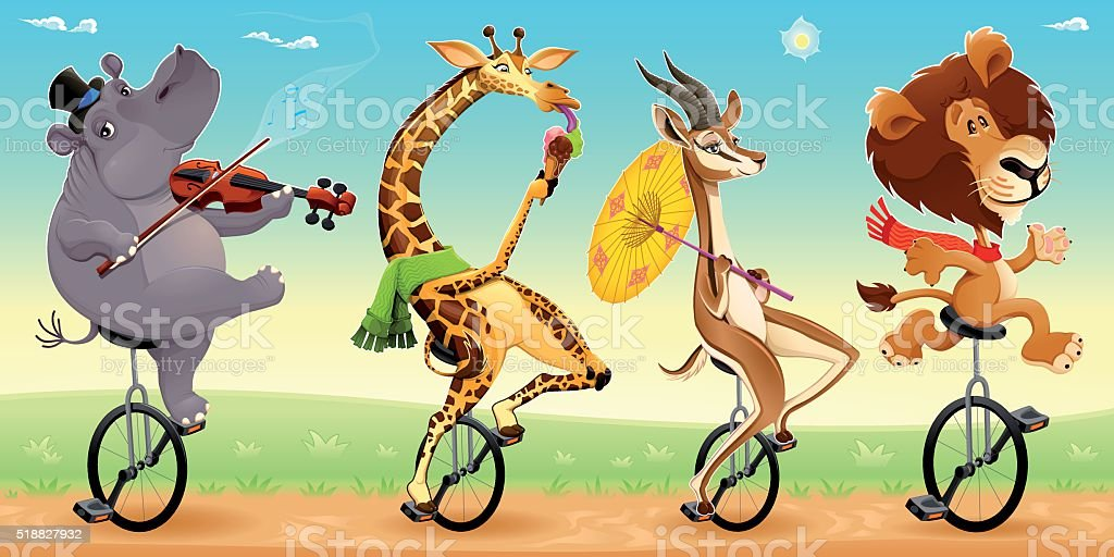 Funny wild animals on unicycles vector art illustration