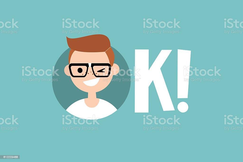 Funny winking nerd says 'Ok' vector art illustration