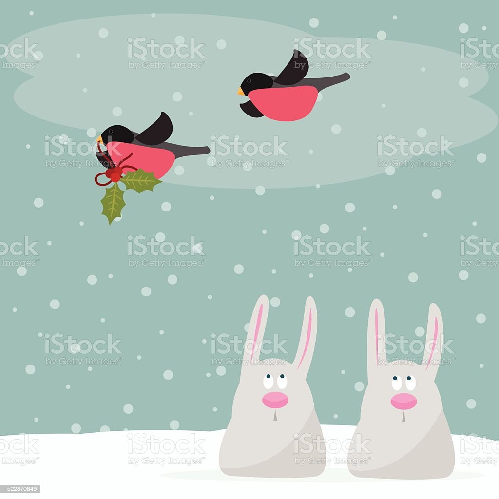funny winter holidays card background with cute cartoon rabbits vector art illustration