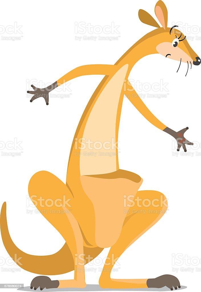 funny wondering kangaroo vector art illustration