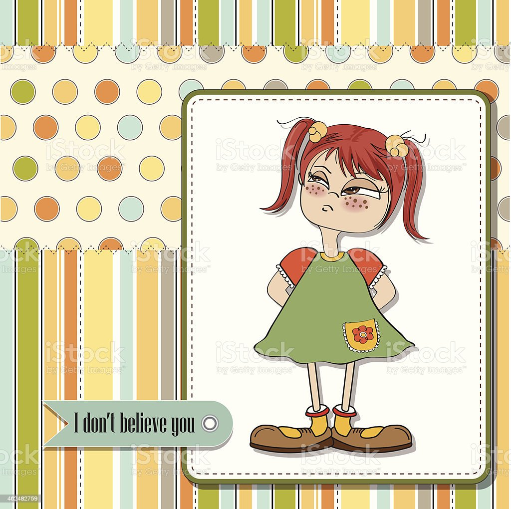 funny young girl amused and distrustful vector art illustration