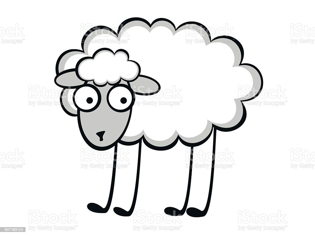Funny young sheep vector art illustration