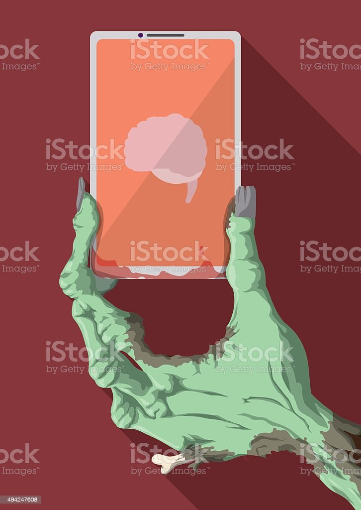 Funny Zombie Hand Holding a Smartphone with Brain App. vector art illustration