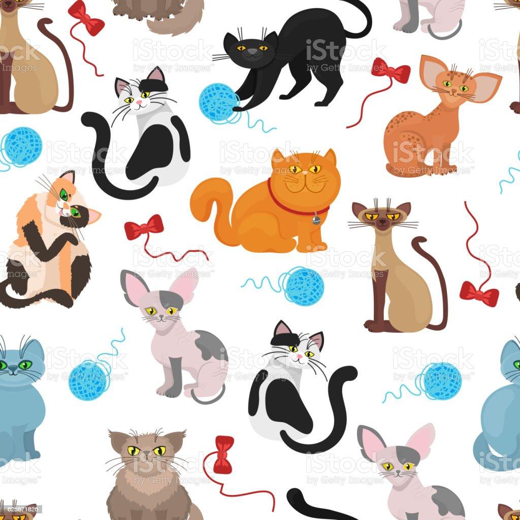 Fur cats pattern vector background vector art illustration