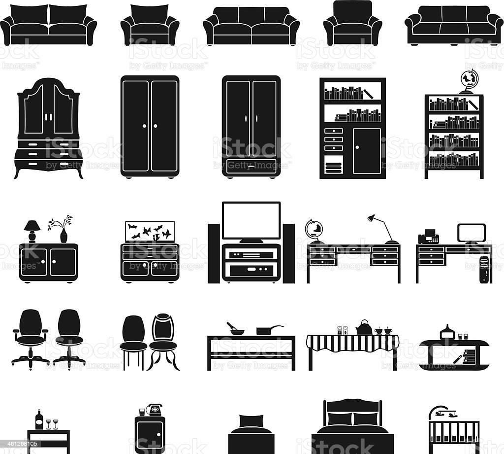 Furinture icons set vector art illustration