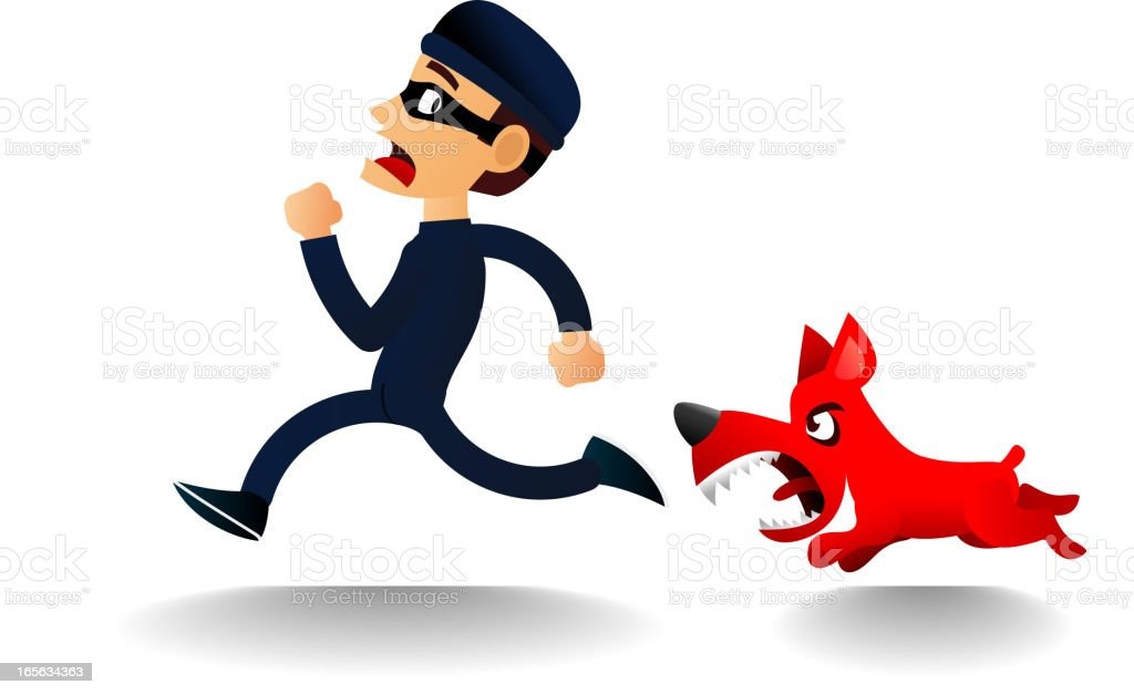 Furious Dog chasing scared thief royalty-free stock vector art